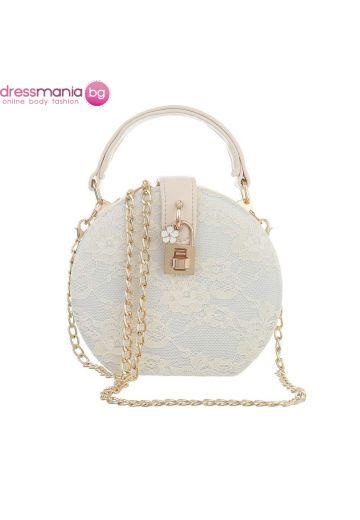 Официална дамска чанта в кръгла форма в бежово