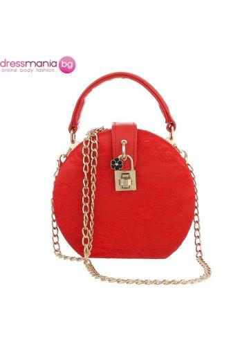 Официална дамска чанта в кръгла форма в червено с дантела