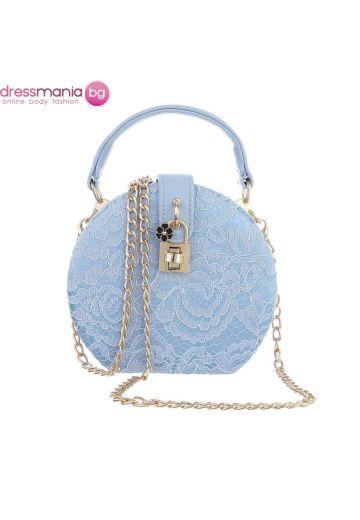 Официална дамска чанта в кръгла форма в светлосиньо