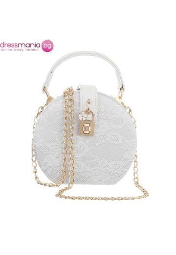 Официална дамска чанта в кръгла форма в бяло с дантела