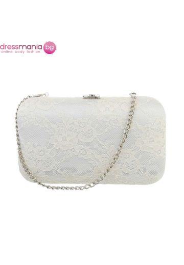 Официална дамска чанта в блед бежов цвят
