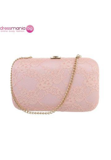 Официална дамска чанта в розово с дантела