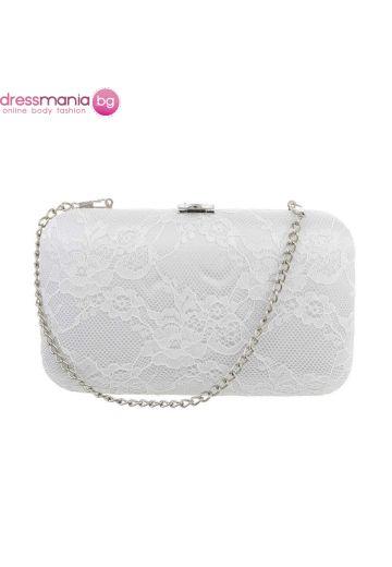 Булчинска дамска чанта в бяло с дантела
