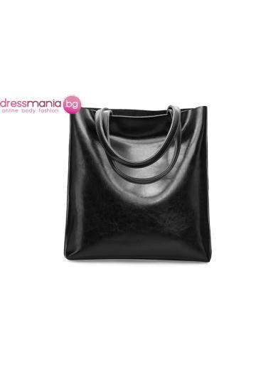 Ежедневна дамска чанта от естествена кожа SMILEY SUNSHINE в черно