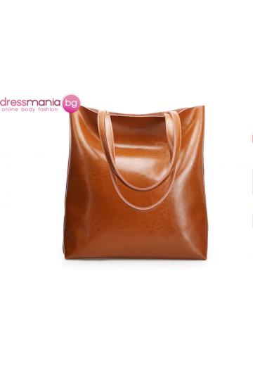 Ежедневна дамска чанта от естествена кожа SMILEY SUNSHINE в цвят кафяв