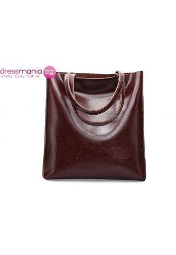 Ежедневна дамска чанта от естествена кожа SMILEY SUNSHINE в цвят кафе