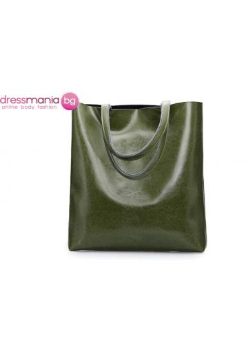 Ежедневна дамска чанта от естествена кожа SMILEY SUNSHINE в зелено