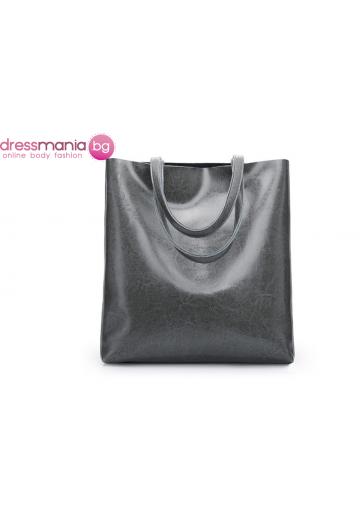 Ежедневна дамска чанта от естествена кожа SMILEY SUNSHINE в сиво