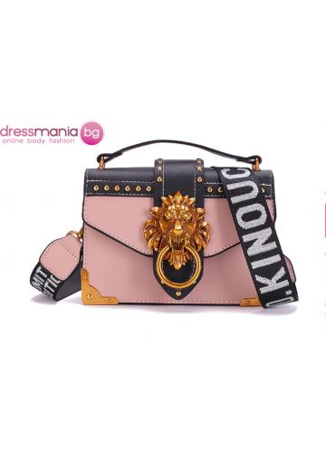 Парти чанта с луксозен дизайн FANSTY розова
