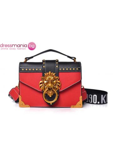 Парти чанта с луксозен дизайн FANSTY червена