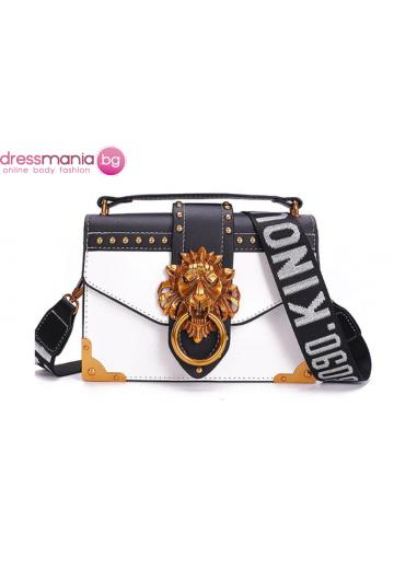 Парти чанта с луксозен дизайн FANSTY бяла