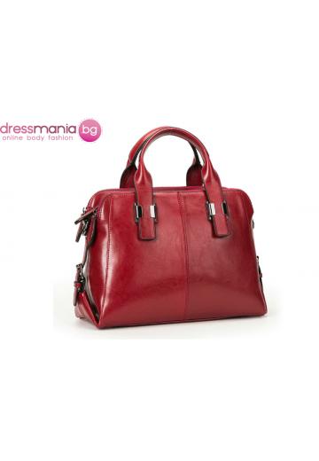 Дамска чанта от естествена кожа Boston Style  в червено