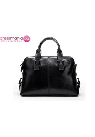 Дамска чанта от естествена кожа Boston Style  в черно