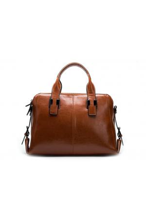Дамска чанта от естествена кожа Boston Style  в кафяво