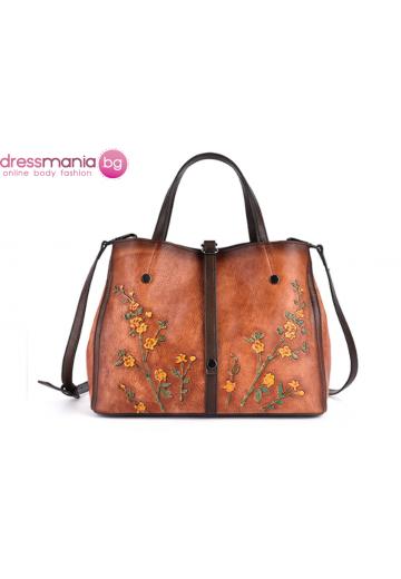 Дамска чанта естествена кожа в кафяво Vinniek