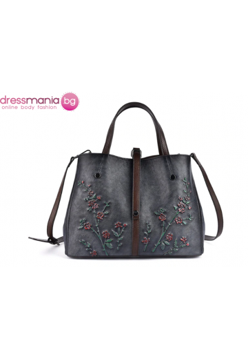 Дамска чанта естествена кожа в сиво Vinniek