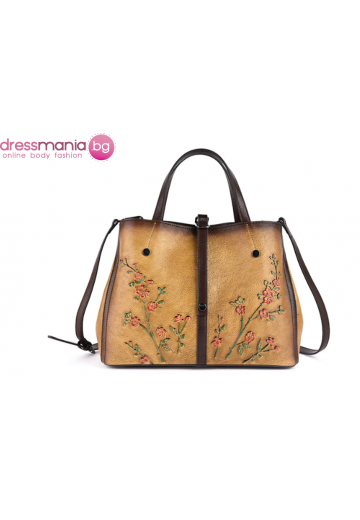 Дамска чанта естествена кожа в тъмножълто Vinniek