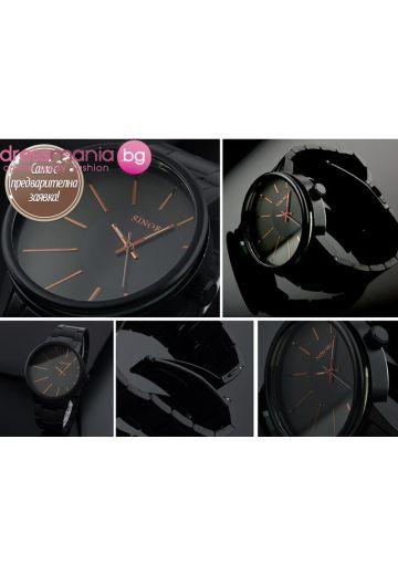Стилен мъжки кварцов часовник в черно