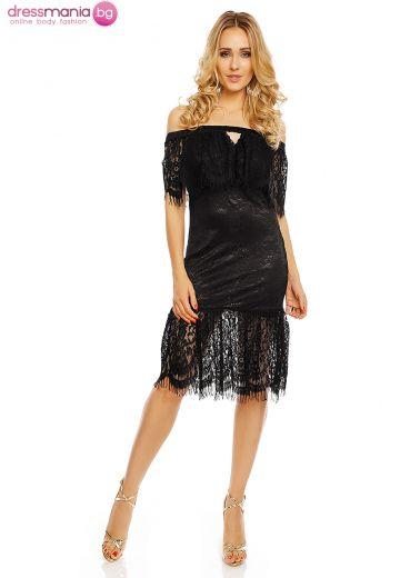 Черна дантелена рокля Ellie White