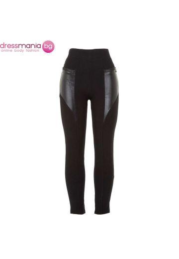 Дамски еластичен панталон - клин в черно