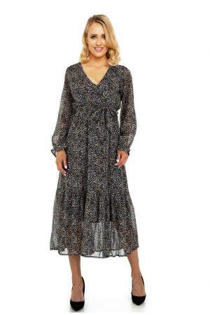 Елегантна дълга дамска рокля в черно