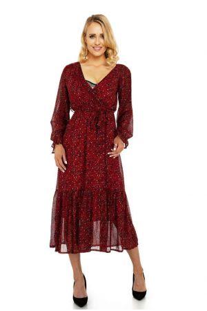 Елегантна дълга дамска рокля в тъмночервено