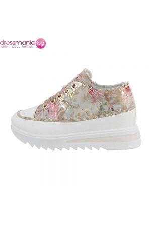 Спортни дамски обувки с бежов флорален принт