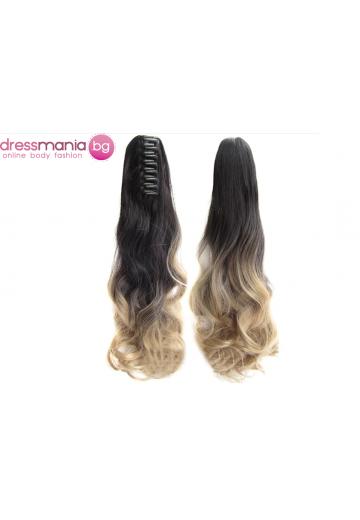 Декоративна омбре опашка от синтетичен косъм в черно и русо