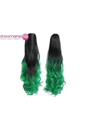 Декоративна омбре опашка от синтетичен косъм в черно и зелено