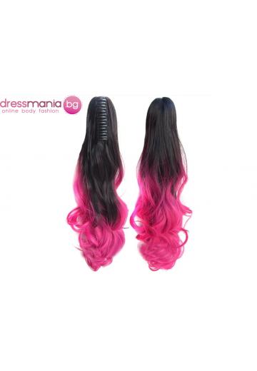 Декоративна омбре опашка от синтетичен косъм в черно и наситено розово