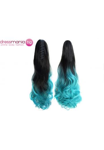 Декоративна омбре опашка от синтетичен косъм в черно и синьо