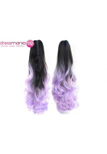 Декоративна омбре опашка от синтетичен косъм в черно и лилаво