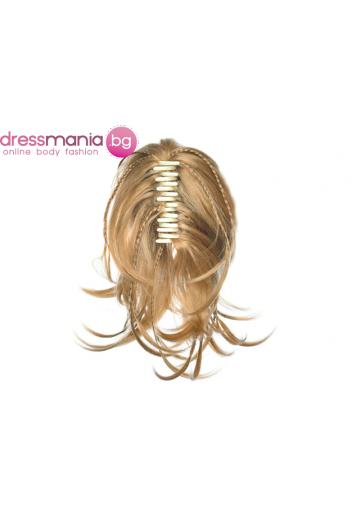Опашка от синтетичен косъм с плитки и шнола 30см #1011