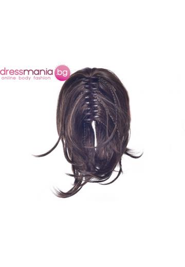 Опашка от синтетичен косъм с плитки и шнола 30см #2-30