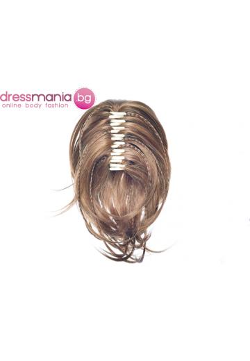 Опашка от синтетичен косъм с плитки и шнола 30см #2005