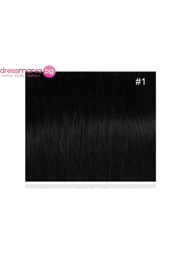 Екстеншън естествена коса в черен цвят