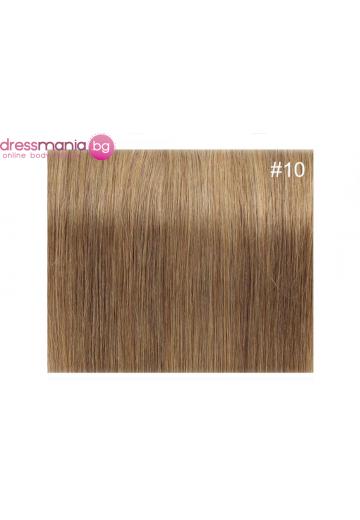 Екстеншън естествена коса в цвят рус