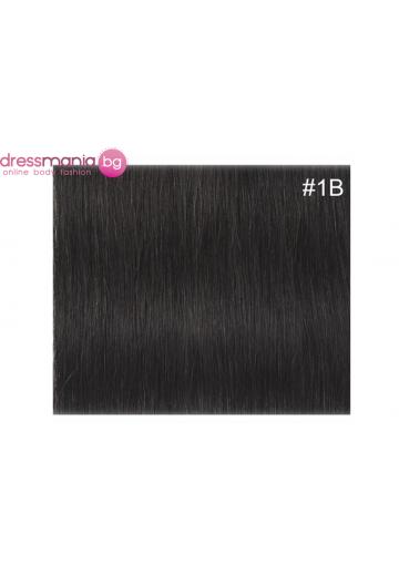 Екстеншън естествена коса в черен цвят 1B