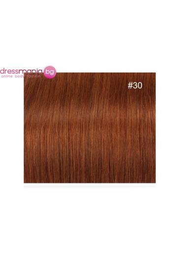 Екстеншън естествена коса в цвят меденочервен