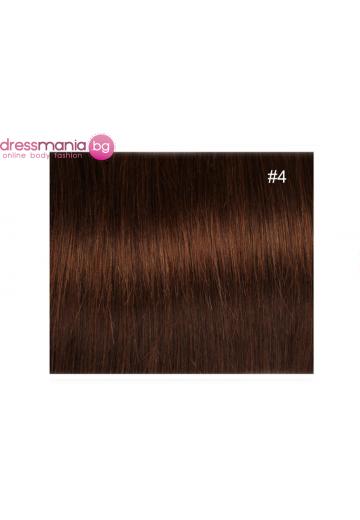 Екстеншън естествена коса в цвят кафяв