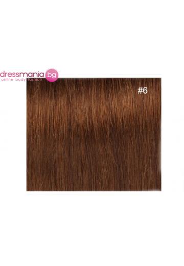 Екстеншън естествена коса в цвят светлокафяв
