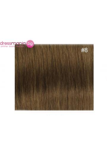Екстеншън естествена коса в цвят тъмнорус