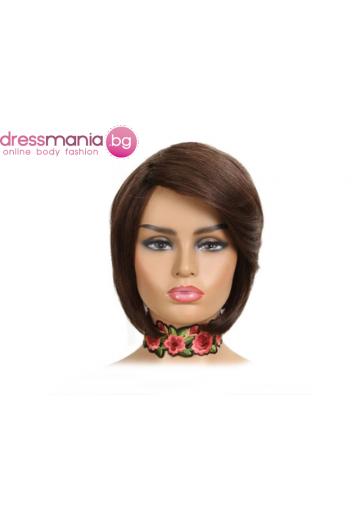 Къса дамска перука от естествен косъм цвят #4