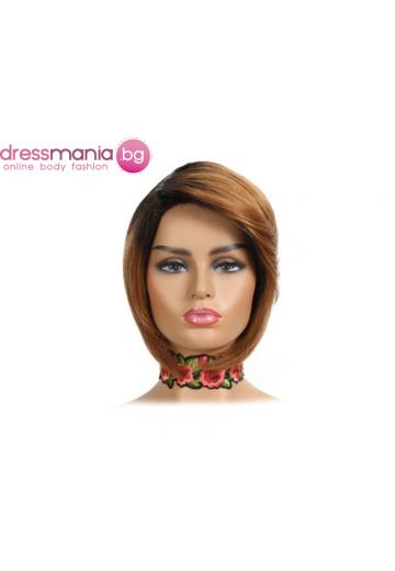 Къса дамска перука от естествен косъм цвят #TT1B-30