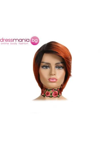 Къса дамска перука от естествен косъм цвят TT1B-350