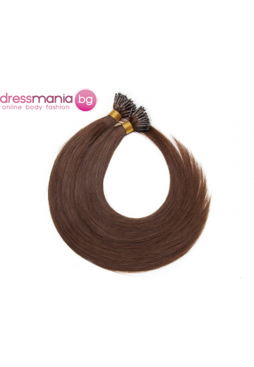 Естествена коса за удължаване с микро ринг в медиум кафяво