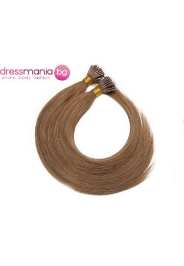 Естествена коса за удължаване с микро ринг в светло кафяво