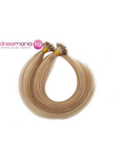Естествена коса за удължаване с микро ринг в златисто кафяво и бяло русо