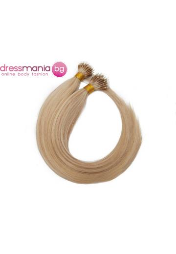 Естествена коса за удължаване с микро ринг в пепеляво и бяло русо