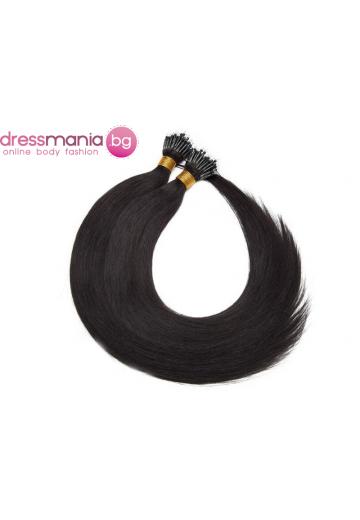 Естествена коса за удължаване с микро ринг в естествено черно